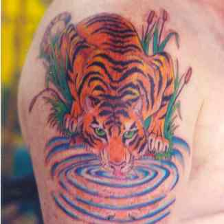 Bonnie Jean, Tattoo by Design, Tiger at Pond