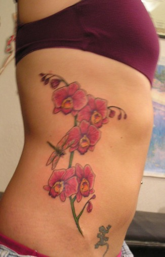Diane, Tattoo by Design, Orchids on Ribs